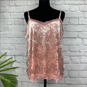 Cupio Pink Crushed Velvet Camisole XL